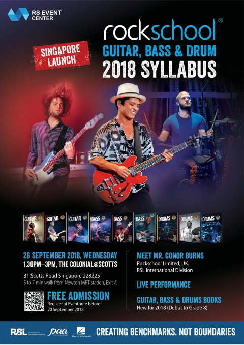 Rockschool Guitar, Bass & Drums 2018 Syllabus Launch - Singapore